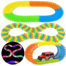 LED Light Car+Racing Track Glow in the Dark Colorful Slot Bend Flexible Track Twist Racetrack Railway Toys for Kids Christmas