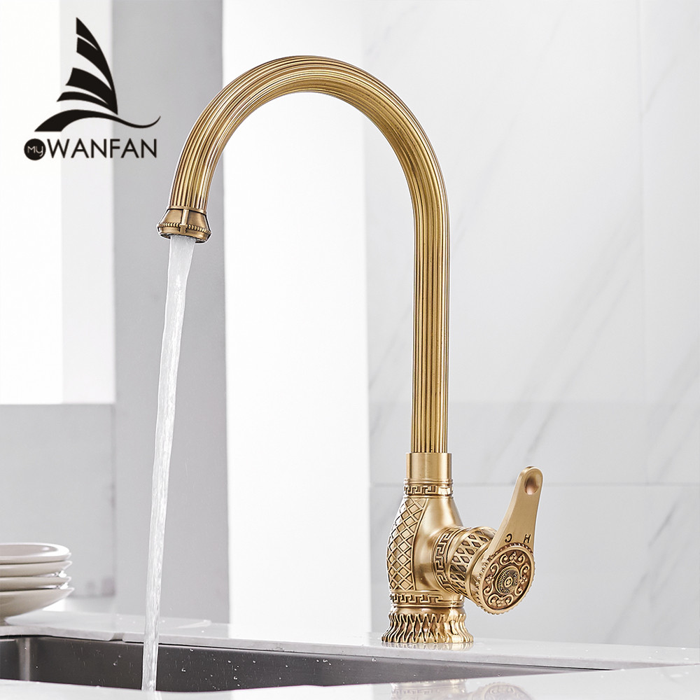 Kitchen Sink Faucets Retro Brass Antique Bronze Single Handle Kitchen Basin Faucets Deck Mounted Hot&Cold Water Mix Tap WF-6826 relojes full stainless steel men s sprot watch black and white face vx42 movement