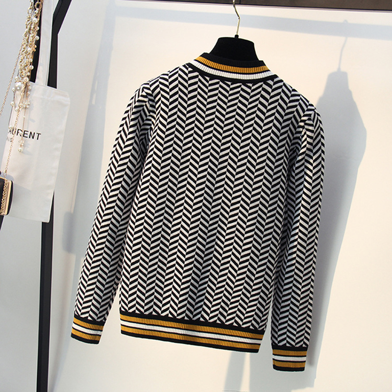 Thick Knitted Sweater Women Autumn Winter Geometric OVersized Sweaters Long Sleeve Casual Loose Pullovers Jumper Tops Pull Femme