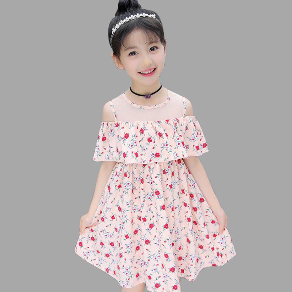 67d7a3dd6b97 Summer Dresses For Girls Off Shoulder Floral Dresses For Teenager Mesh Kids  Dresses Teenage Clothing For