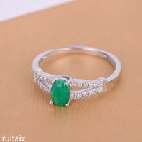 KJJEAXCMY fine jewelry 925 Pure silver inlay natural emerald green female style ring diamond simple inlay