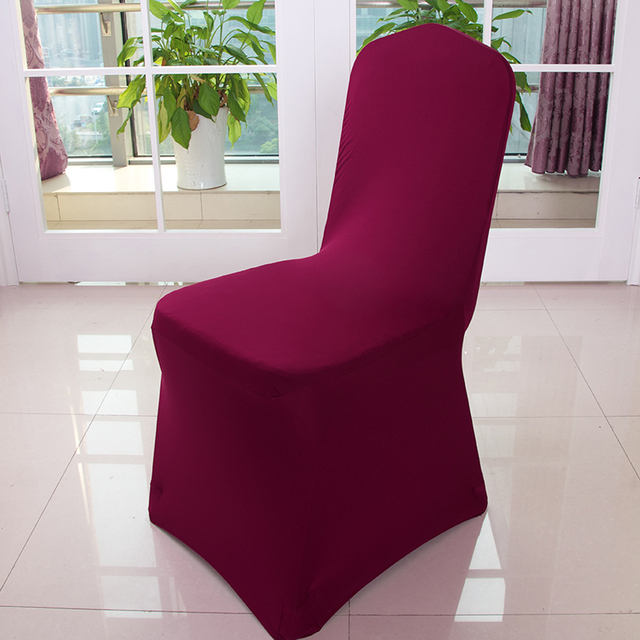 Burgundy Chair Covers Wedding Green Desk 100pcs Extra Thick Lycra Stretch Spandex For Hotel Banquet Decoration