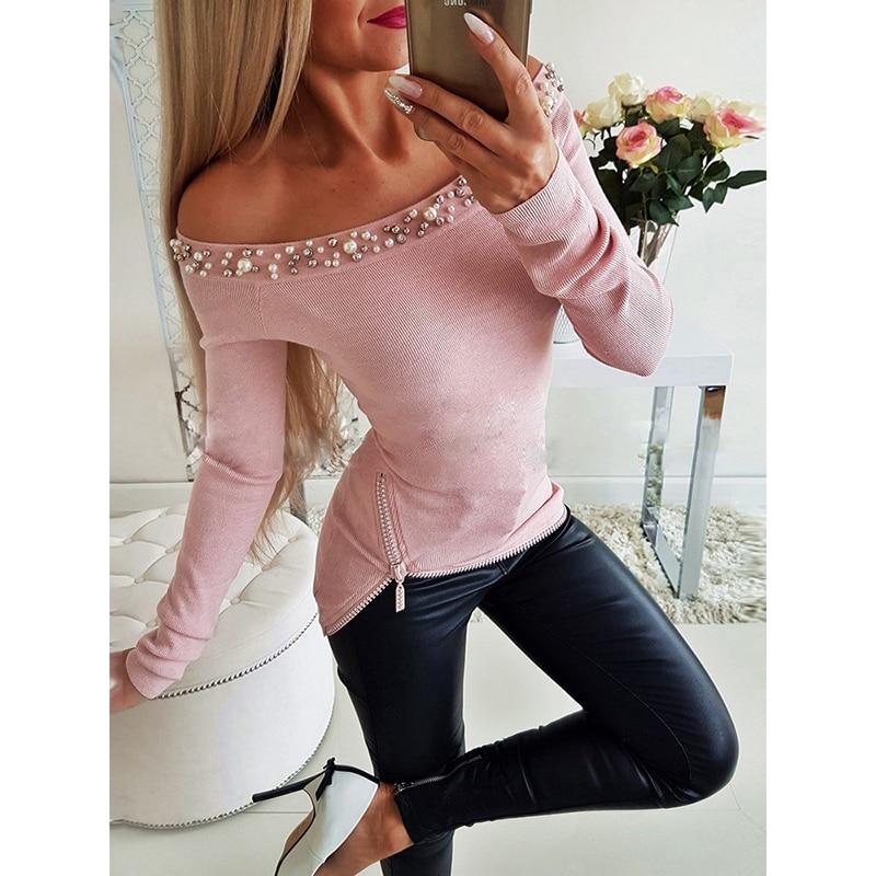 Hombro Mujeres Cuello Barra Cremallera Perla Las Gris Mujer Moda Sj1684y Blusas Beading Camiseta De rosado Camisa Streetwear 0ddqvUWz