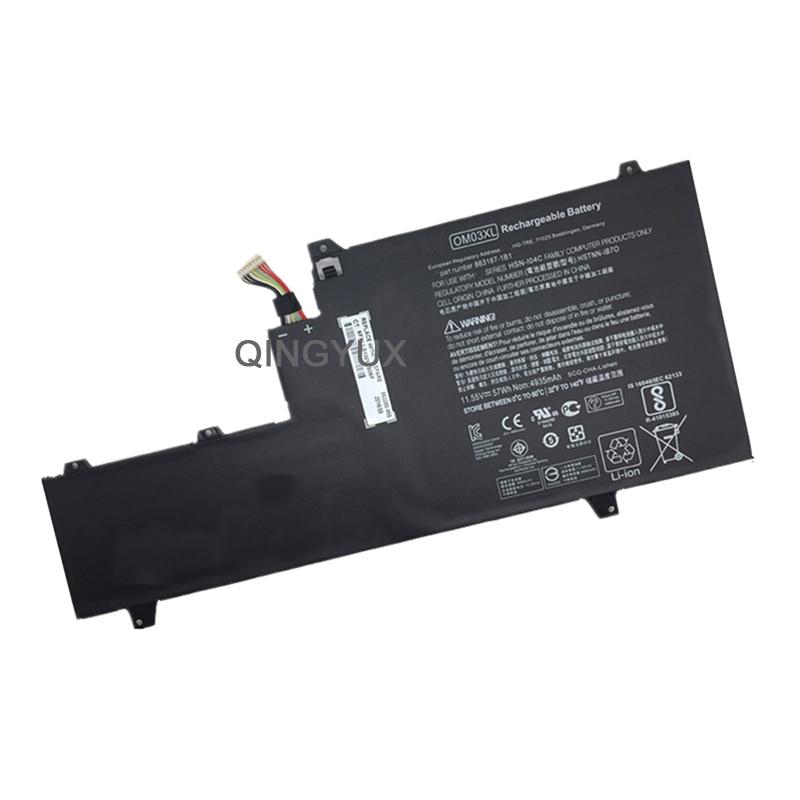QINGYUX Nouveau 11.55 V 57Wh OM03XL batterie d'ordinateur portable pour HP EliteBook X360 1030 G2 HSTNN-IB70 863167-1B1 Série Batterie De Portable