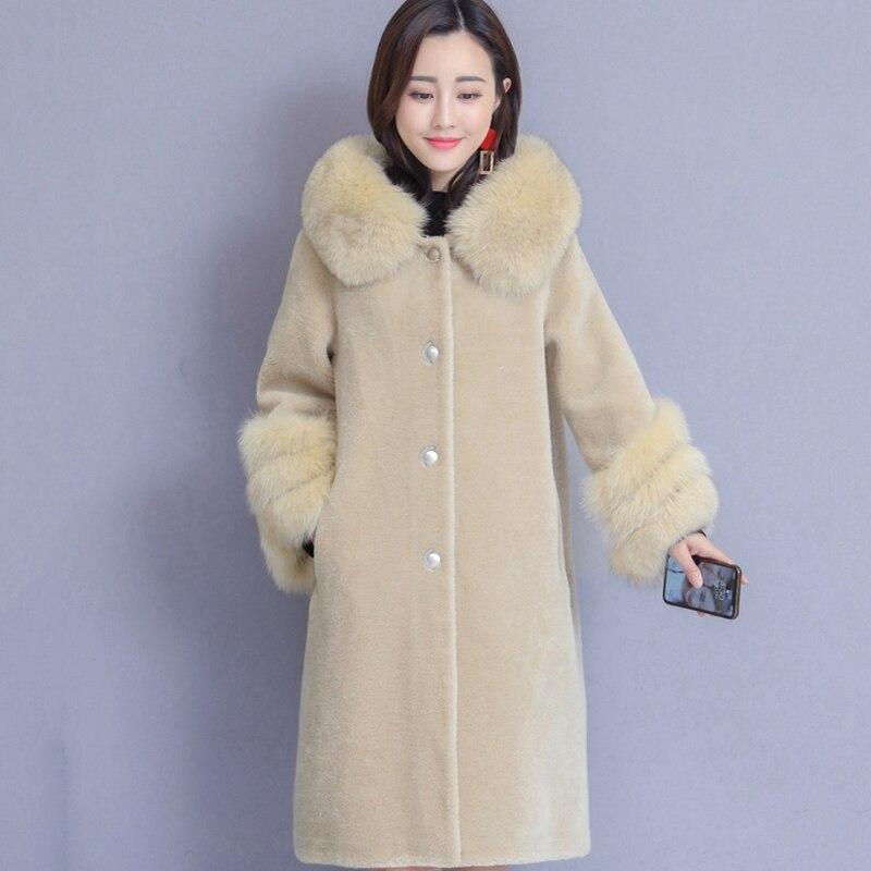 Taille Chaud De Grande À D'hiver Longue S616 Fourrure Femme Col white Solide Nouvelle Fausse Couleur Femmes Mode En Manteau Beige Capuche blue camel tAqw4Owx