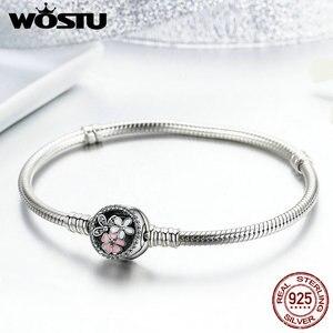Image 1 - Wostu 100% 925 Sterling Zilver Poëtische Blooms Armband & Bangles Voor Vrouwen Fit Diy Charms Kralen Originele Sieraden Gift FBS919