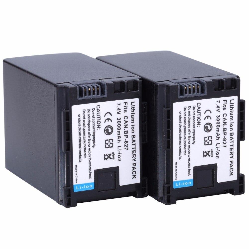 2Pcs Probty BP-827 BP 827 Battery For Canon HF10 HF11 HF100 HF20 HF200 HF S10 S11 S100 S20 S21 S200 S30 G10 Digital Camera