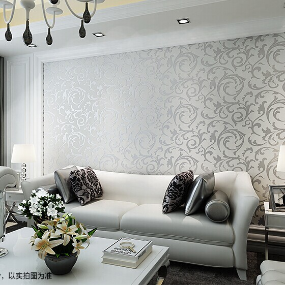 Europe style Acanthus leaf tv sofa background living room silver waterproof wall PVC wallpaper for living room