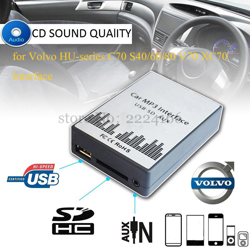 Sitaile Usb Sd Aux Automotive Mp3 Music Participant Adapter For Volvo Hu-Sequence C70 S40/60/80 V70 Xc70 Interface Easy Set up
