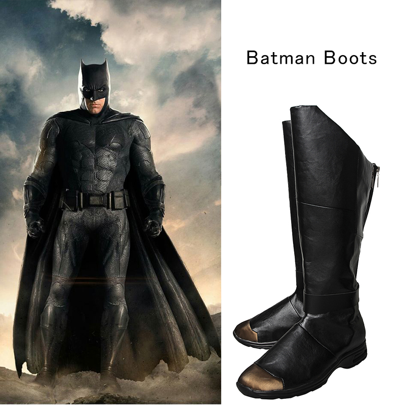 Justice League Batman Cosplay Boots Bruce Wayne Shoes Batman V Superman Dawn Superhero Cosplay Black Leather Shoes Customized