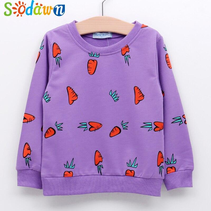 Sodawn Autumn New Children Clothes Cartoon Carrot Printing Long Sleeves T-Shirt Baby Girls Boys Top Fashion Kids Clothing