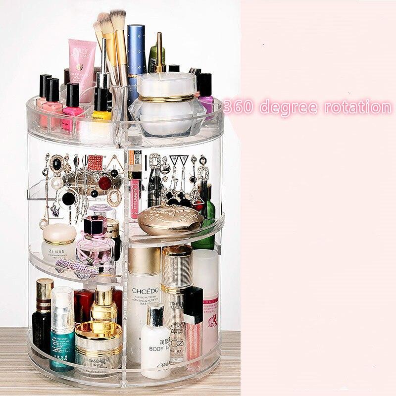 Boîte de rangement de cosmétiques acrylique transparent 360 rotation piles bureau produits de soins de la peau commode. Cadre de combinaison de support de stockage
