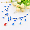 Luckyshine 2 PCS 1 LOT Fire Blue Created Topaz Red Quartz Silver Plated Wedding Chain Necklaces Russia USA Pendants Necklaces