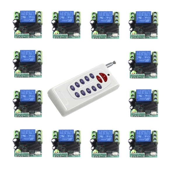 New 12V 1CH 315MHz Fixed Code Receiver Module + 12pcs Digital Wireless Remote Control Switches 4311 dc 12v led display digital delay timer control switch module plc automation new
