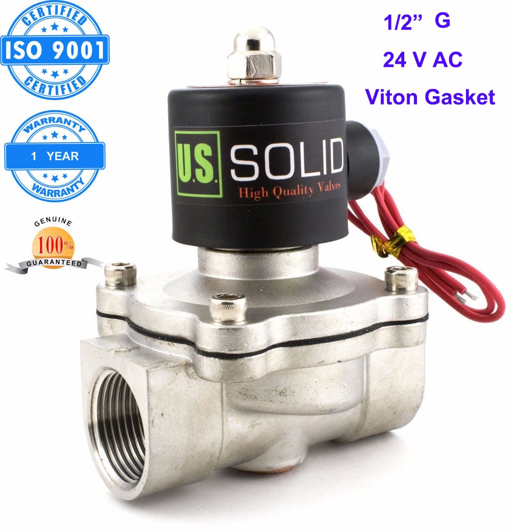 U.S. Solid 1/2 Stainless Steel  Electric Solenoid Valve 24V AC G Thread Normally Closed water, air, diesel... ISO Certified u s solid 3 4 stainless steel electric solenoid valve 24v ac npt thread normally closed water air diesel iso certified