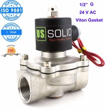 U.S. Solid 1/2″ Stainless Steel  Electric Solenoid Valve 24V AC G Thread Normally Closed water, air, diesel… ISO Certified