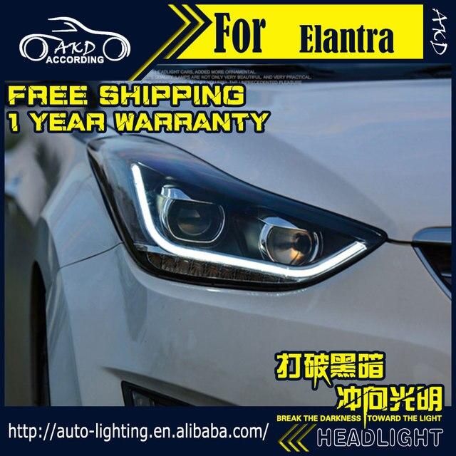AKD Car Styling Head Lamp for Hyundai Elantra Headlights 2011 Elantra MD LED Headlight H7 D2H Hid Option Angel Eye Bi Xenon Beam