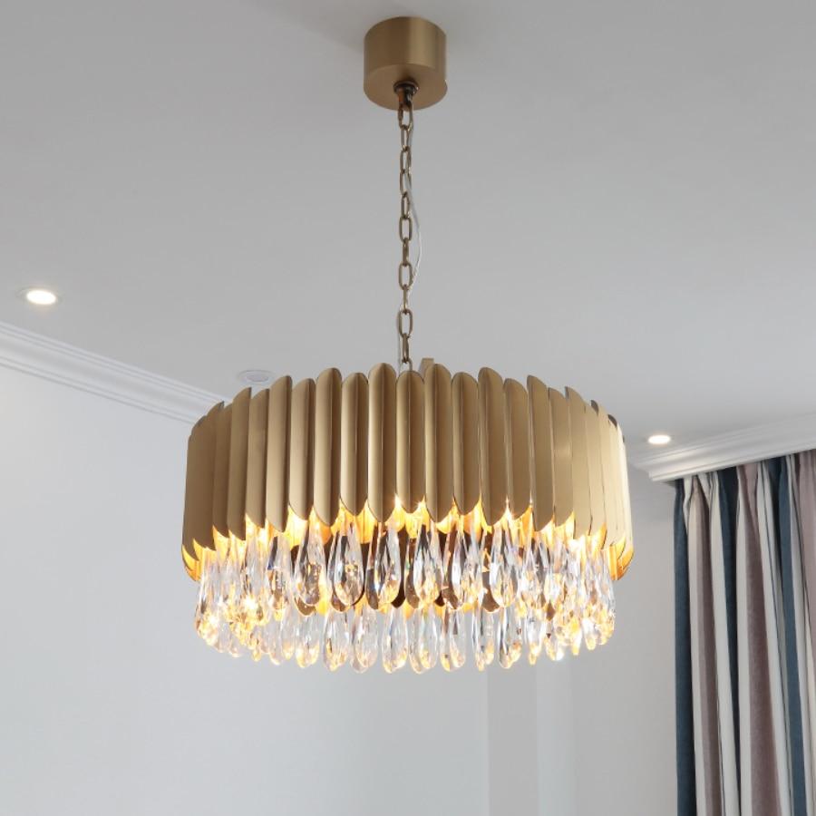 Moderno lampadario di cristallo rotondo LED lustri de cristal illuminazione di cristallo di lusso zyrandol lampadari a soffitto per soggiornoModerno lampadario di cristallo rotondo LED lustri de cristal illuminazione di cristallo di lusso zyrandol lampadari a soffitto per soggiorno
