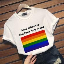 От DHL 45 шт. Kiss кем хотите Радужный Флаг ЛГБТ слоган гей лесби гордость футболка, Т-футболка Для женщин унисекс Для мужчин женский спортивный для бега футболка