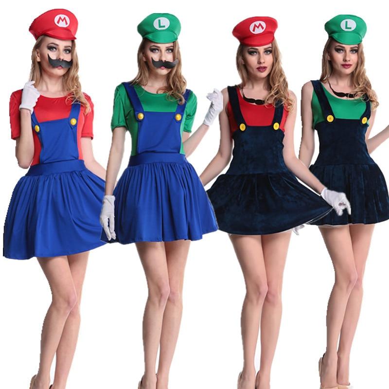 Super Mario Bros Cosplay Halloween Costumes Sexy Fancy Dress Party