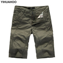 YIHUAHOO Summer Shorts Men Big Size Casual Cotton Short Pants Army Military Short Trousers Pockets Bermuda Cargo Shorts A333(China)