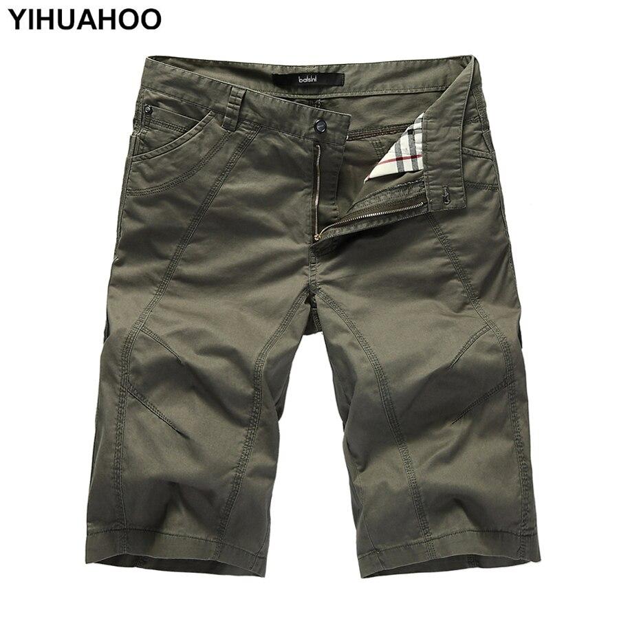 YIHUAHOO Summer Shorts Men Big Size Casual Cotton Short Pants Army Military Short Trousers Pockets Bermuda Cargo Shorts A333