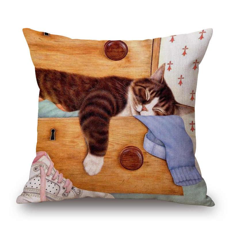 KYYZROZZZ Decorativa Cotton Linen Throw Pillow Caso capa de Almofada Capa de Sofá Cama Dlmofada Gato Preguiçoso Criativo Pet Pintura