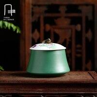 الطاووس الأخضر الصيني خمر العمود زجاجات تخزين علب الشاي العلبة علبة الشاي والخزف جرة الشاي العلبة حالة اليدوية المنظم