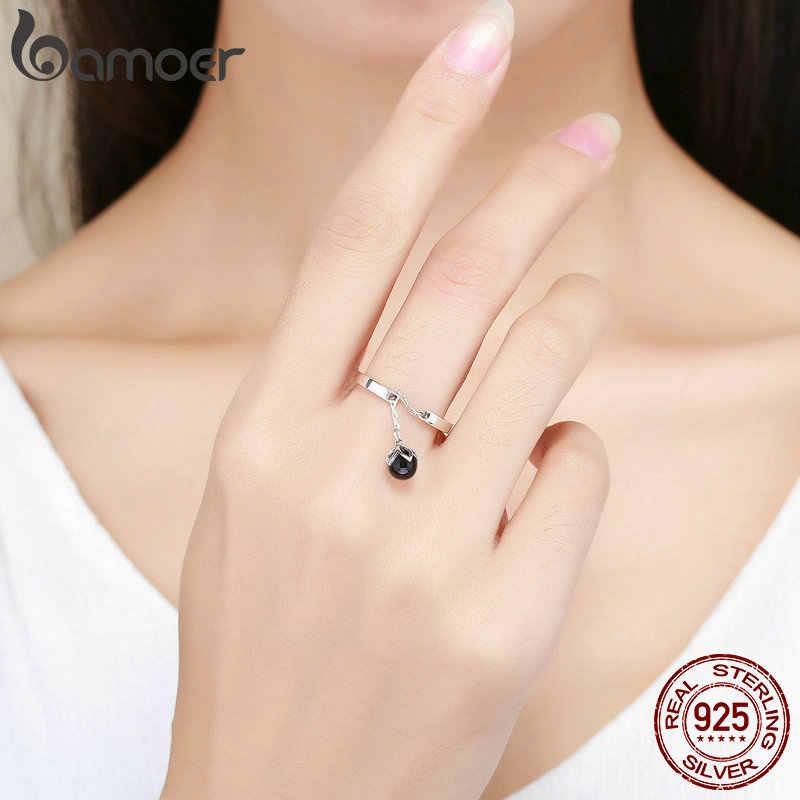 BAMOER offre spéciale authentique 925 en argent Sterling larmes de fleurs balancent des bagues ouvertes pour les femmes en argent Sterling bijoux SCR314