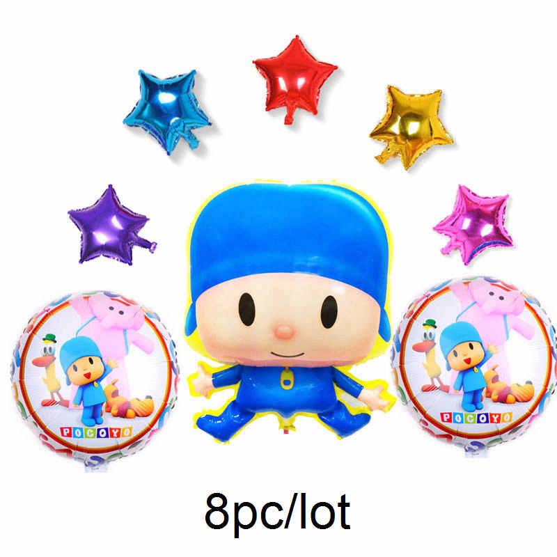 8 pçs/set pocoyo balão dos desenhos animados pocoyo POCOYO balões foil para crianças brinquedos com rodada para balões de festa de aniversário