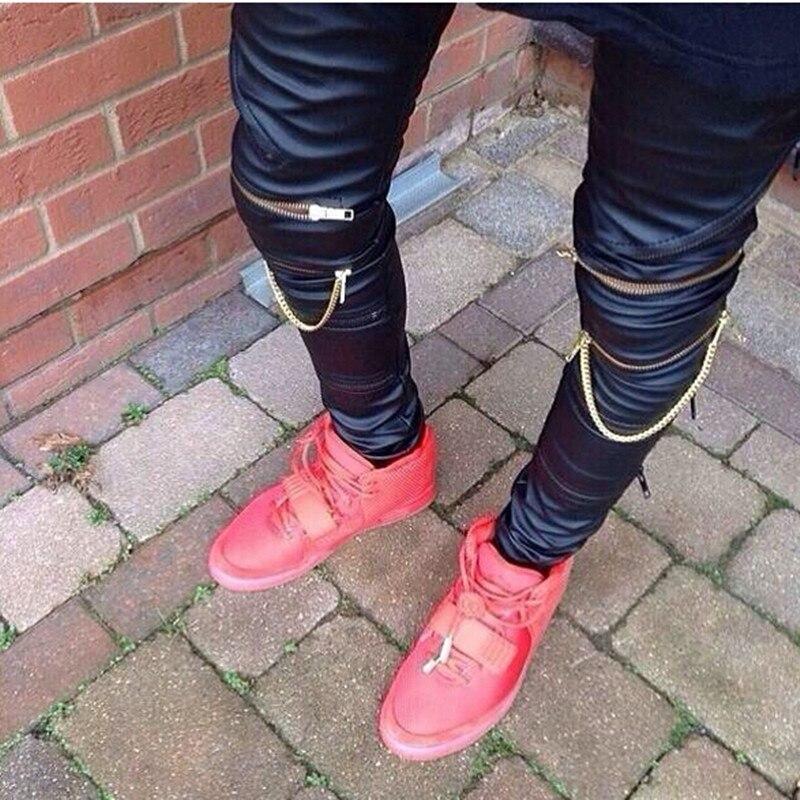 32a1db4af3e38 ... Men Skinny Justin Bieber Pants Pu Faux Leather Slim Fit Trousers Hip Hop  Zipper Swag Biker Jogger Kanye West Pants-in Harem Pants from Men s Clothing  on ...