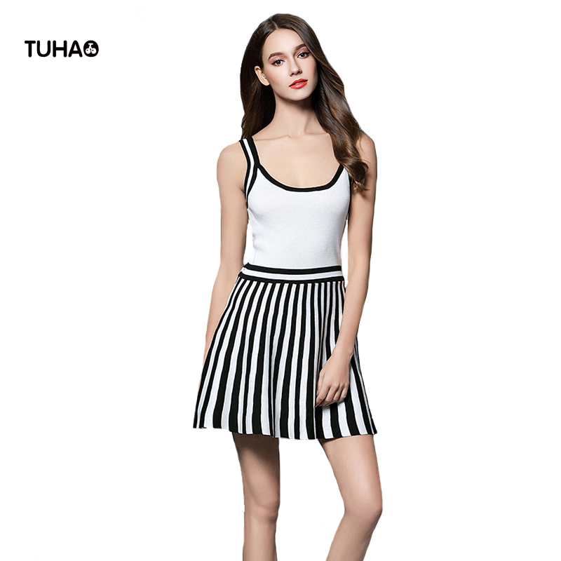 TUHAO Patchwork Striped Summer Dress Women Tank Tops Dresses Slim Fit Elastic Knitted Dresses For Ladies Vestidos TG5114 женское платье summer dress 2015cute o women dress