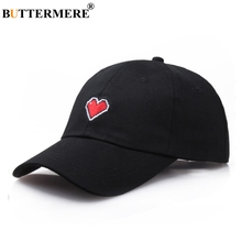 BUTTERMERE Black Baseball Cap Women Cotton Heart Embroidery Sun Ladies Summer UV Protection Fashion Brand Female Dad Hats