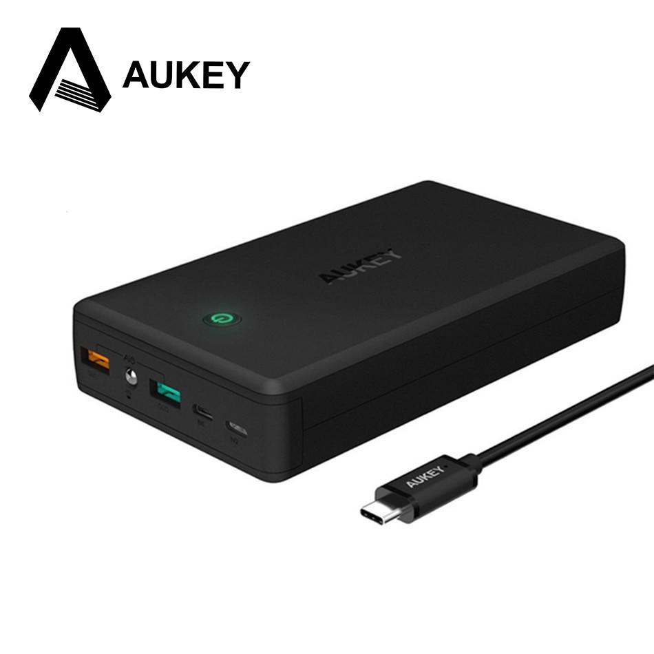 AUKEY 30000 mAh 3.0 Banco de la Energía Dual USB de Salida de Carga Rápida Cargador Portátil de Batería Externa para el iphone Xiaomi Smartphone Móvil