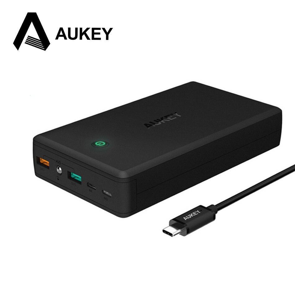 imágenes para AUKEY 30000 mAh 3.0 Banco de la Energía Dual USB de Salida de Carga Rápida Cargador Portátil de Batería Externa para el iphone Xiaomi Smartphone Móvil