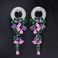 Nueva multicolor forma de guirnalda serie Pendientes personalizado AAA ZIRCON brillante cristal Pendientes para la boda regalo de joyería