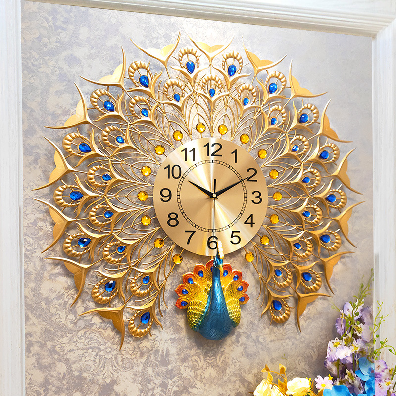 Hot, Creative Living Room Reloj De Pared Nordic 3D Peacock Clock Modern Home Mute Wall Clock Fashion Decorative Quartz Clock