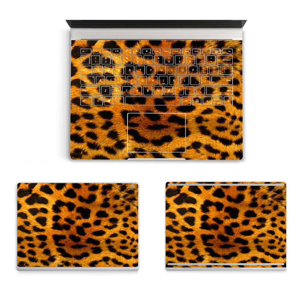 2017 Hot Laptop Leopard Sticker For Micro Surface Book Top Bottom Vinyl Decal+US Keyboard Sticker Animal Skin Logo Cut Out colorful laptop sticker decal skins for macbook 11 13 15 17 inch sticker for mac book rainbow logo free shipping new arrival
