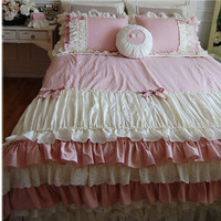 Korean pink cake layers bedding set twin full queen king size ruffle falbala lace bow bedspread wedding bed skirt free shipping