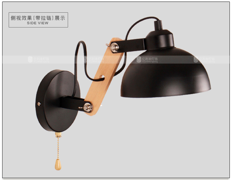 Top Grade Wood Handcrafted Swing Arm Light Sconce LED Wall Lamp Nordic Style Home Decoration Lighting E27 black With Switch top grade wood handcrafted swing arm light sconce led wall lamp nordic style home decoration lighting e27 black with switch