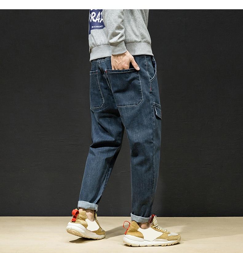 KSTUN Harem Jeans Men Pants Knee Fake Pockets Designer Retro Blue Tapered Hip Hop Streetwear Loose