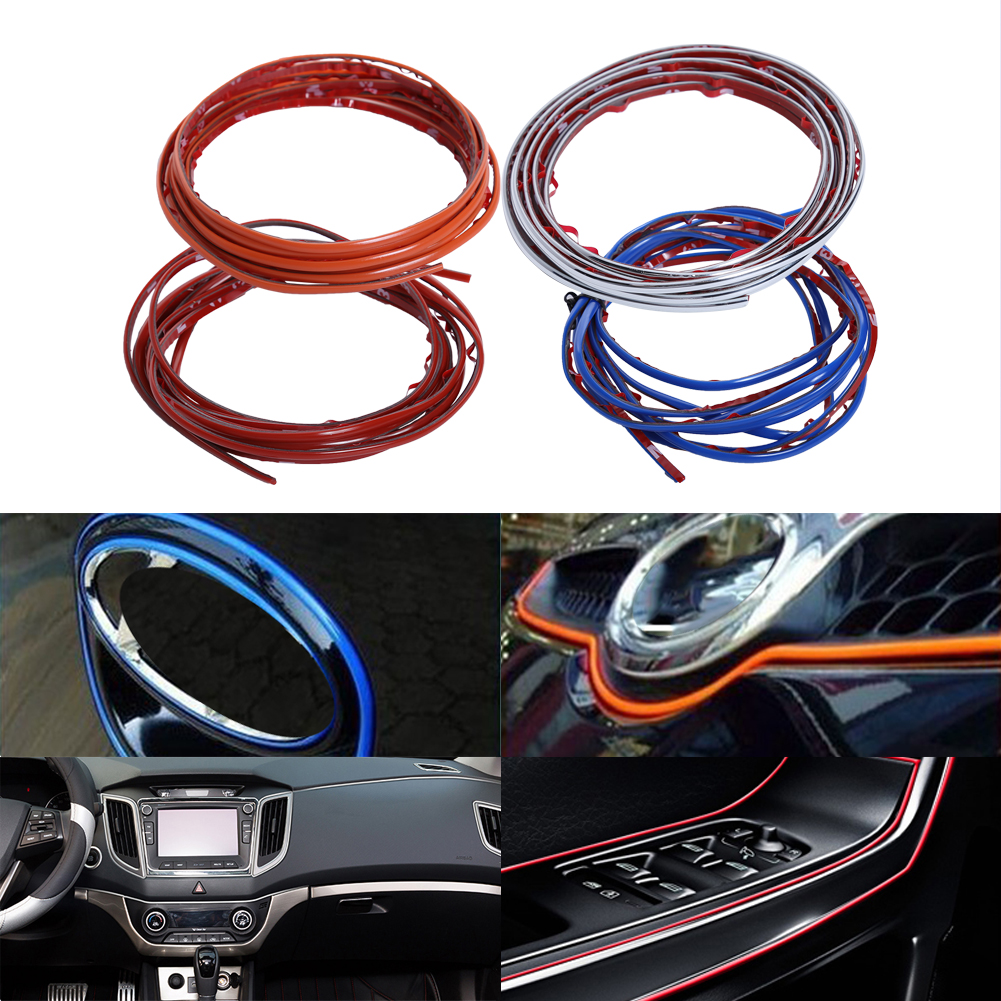 Car Interior Mouldings Trim Strip Sticker Car Center Console Decoration Door Auto Brand  ...