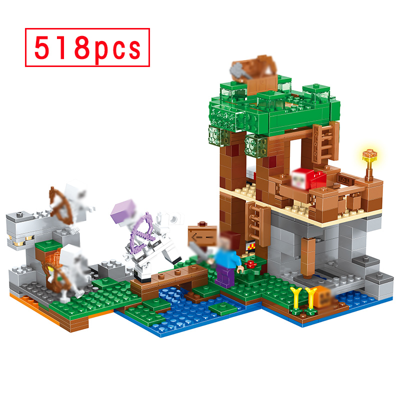 518pcs My World Skeleton Attack Model Building Kits Blocks Compatible 21146 Figures Bricks Toys For Children