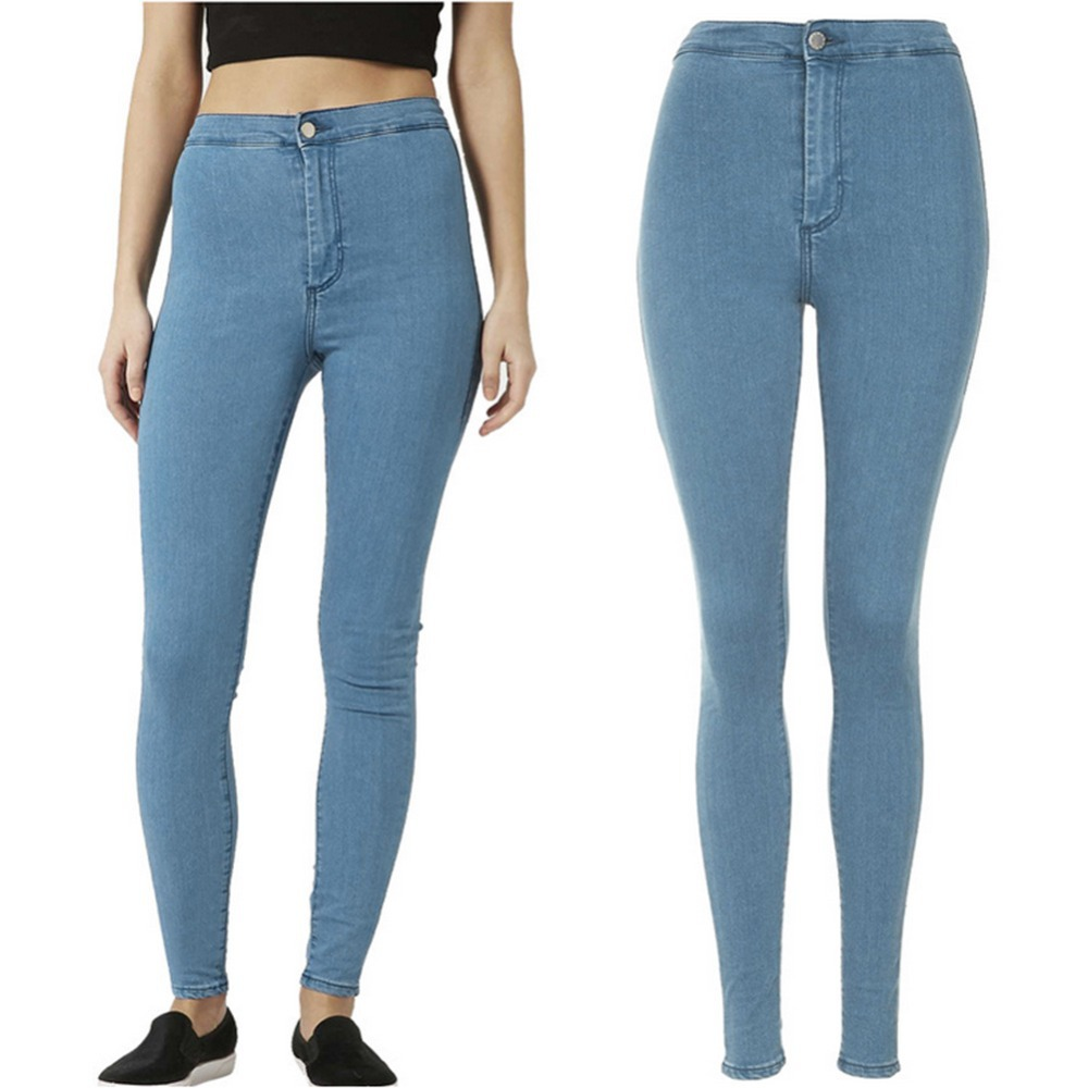 Women High Waist Skinny Slim Denim Jeans Trouser Long Pencil Pants Stretchy 6475 free shipping wild cat limited edition vintage pin up skinny pencil pants high waist hip up cotton denim pants women slim jeans