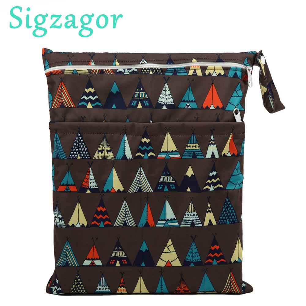 Floral Sigzagor Medium Wet Dry Bag Baby Cloth Diaper Nappy Insert Bag Reusable Washable With Two Zippered Pockets For Girls