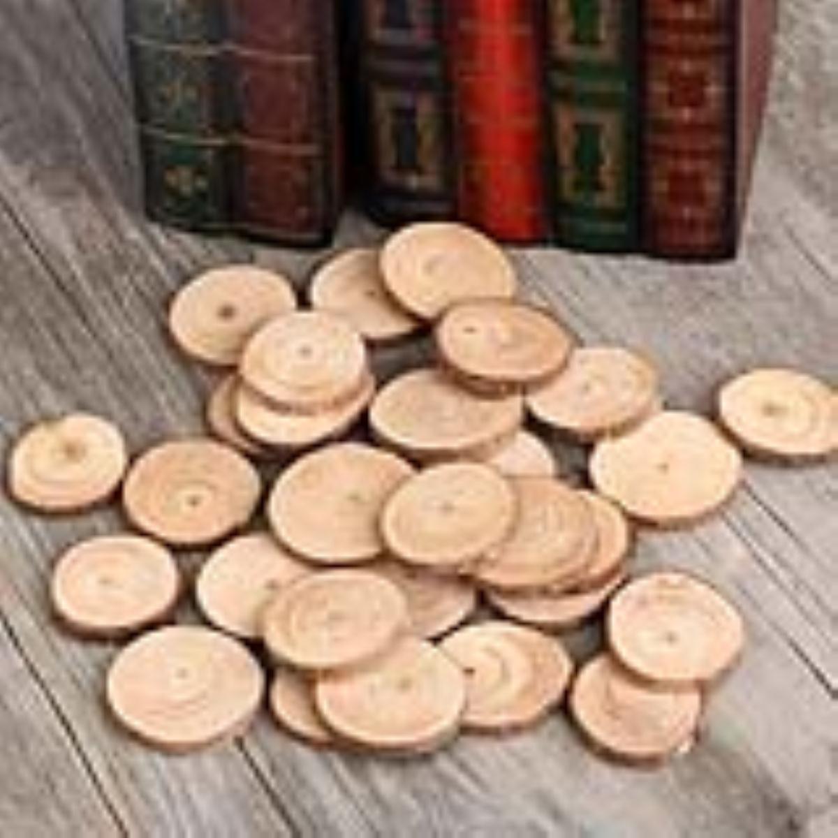 30pcs 4 5cm Wood Log Slices Discs For Diy Crafts Wedding