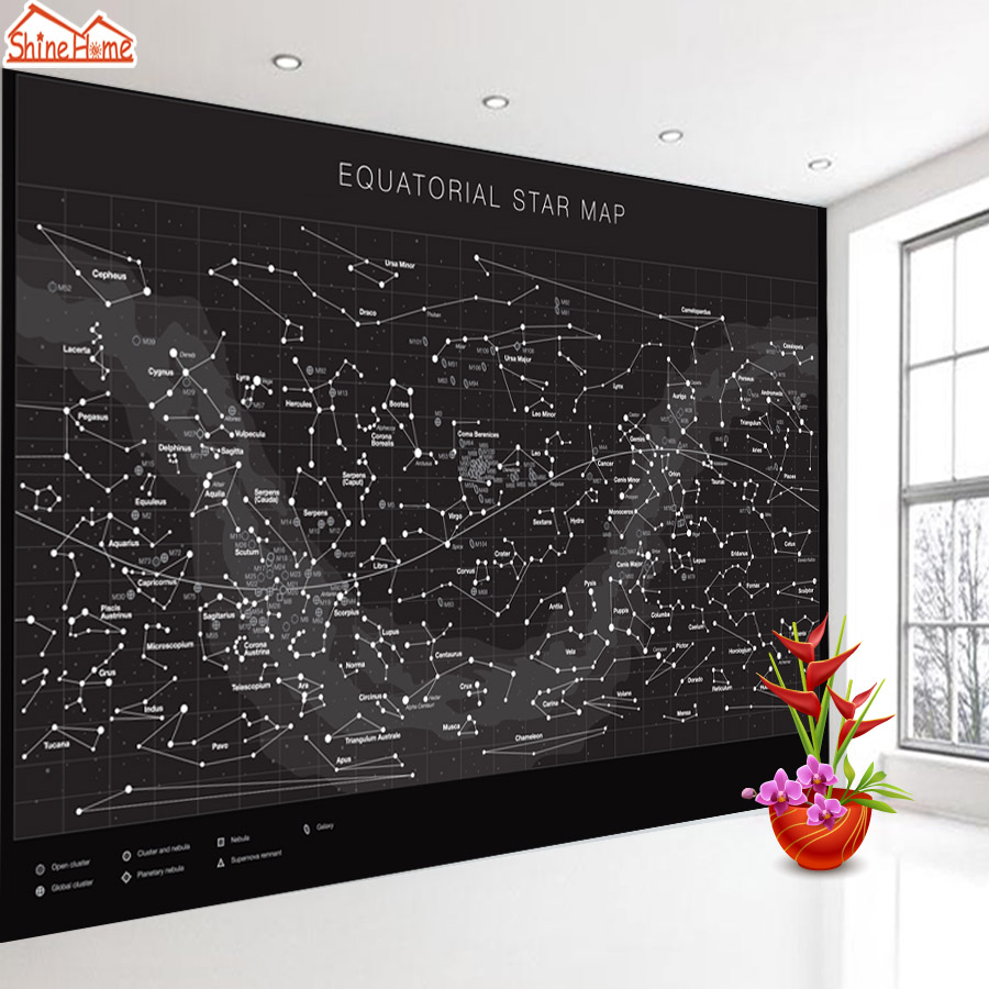 ShineHome-Large Custom Photo Equatorial Star Map Wallpapers Walls 3d Living Room Black White Cafe House Mural 3 d Wall Paper shinehome abstract brick black white polygons background wallpapers rolls 3 d wallpaper for livingroom walls 3d room paper roll