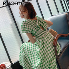RUGOD Elegant big bow hollow out plaid party dress women Fashion puff sleeve A line dresses veestidos Female femme