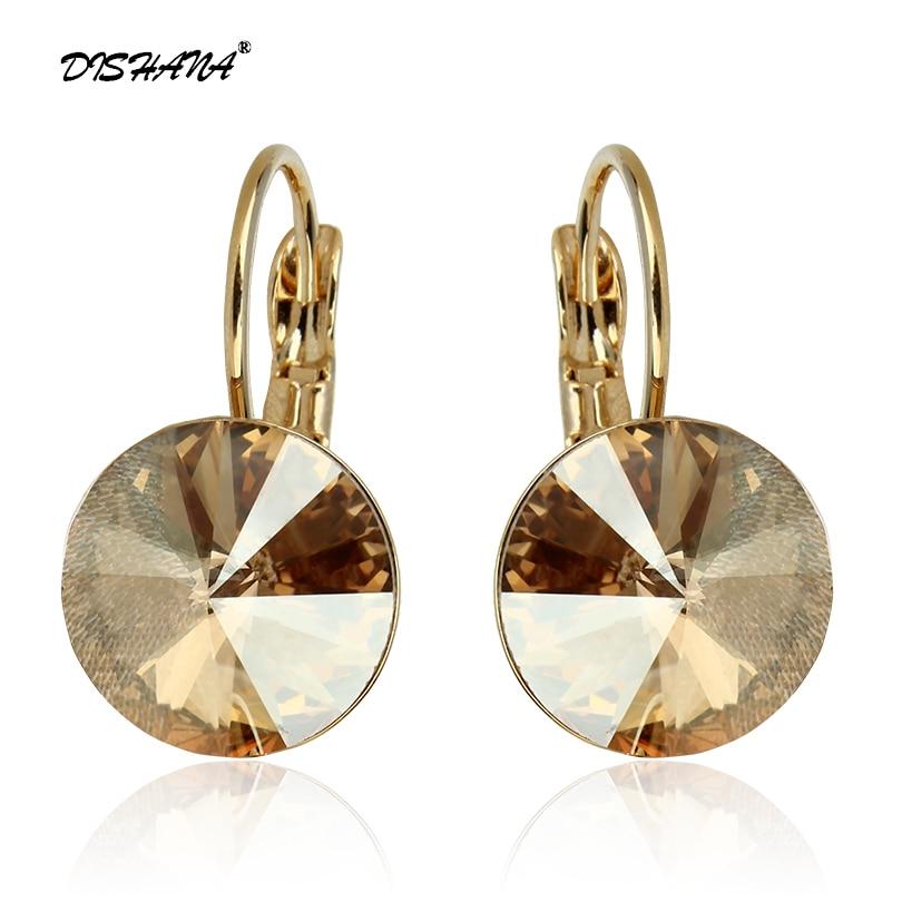2016 Fashion Jewelry Gold color Earring For Women Austrian Crystal Purple Drop Earrings Stone Pendientes Mujer Moda Earing E0001