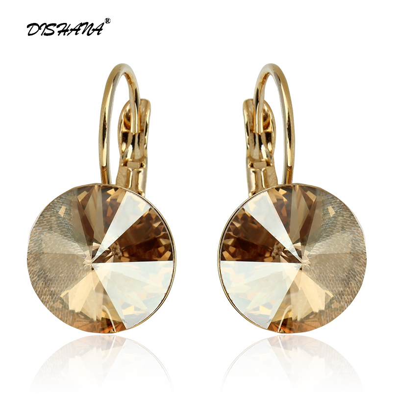 2016 Fashion Jewelry Gold-color Earring For Women Austrian Crystal Purple Drop Earrings Stone Pendientes Mujer Moda Earing E0001